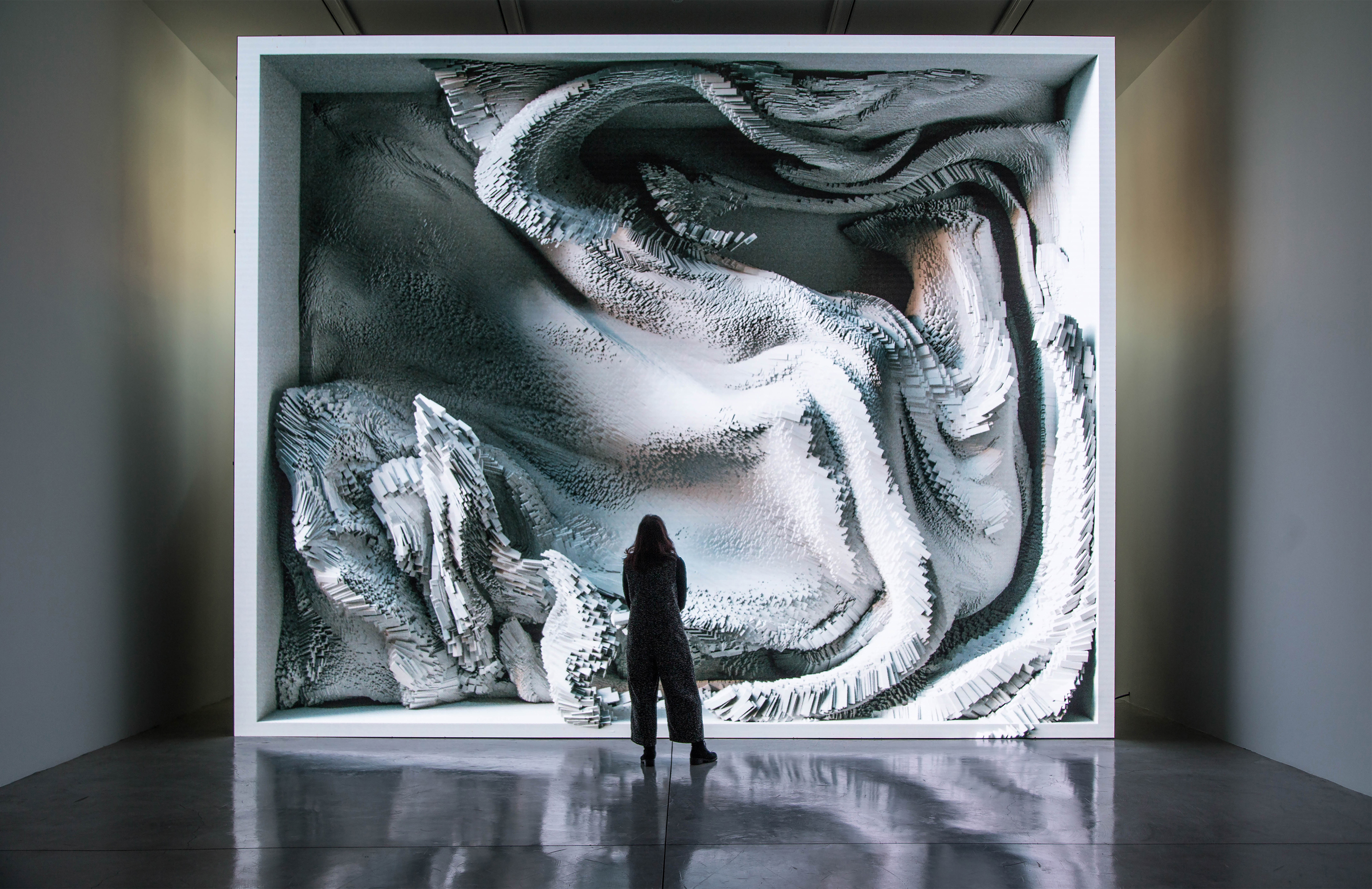 3d installation of flow and figure