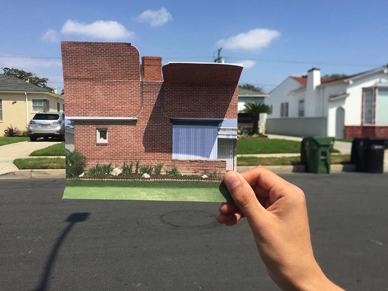Mira Henry photo holding photo collage of suburban house