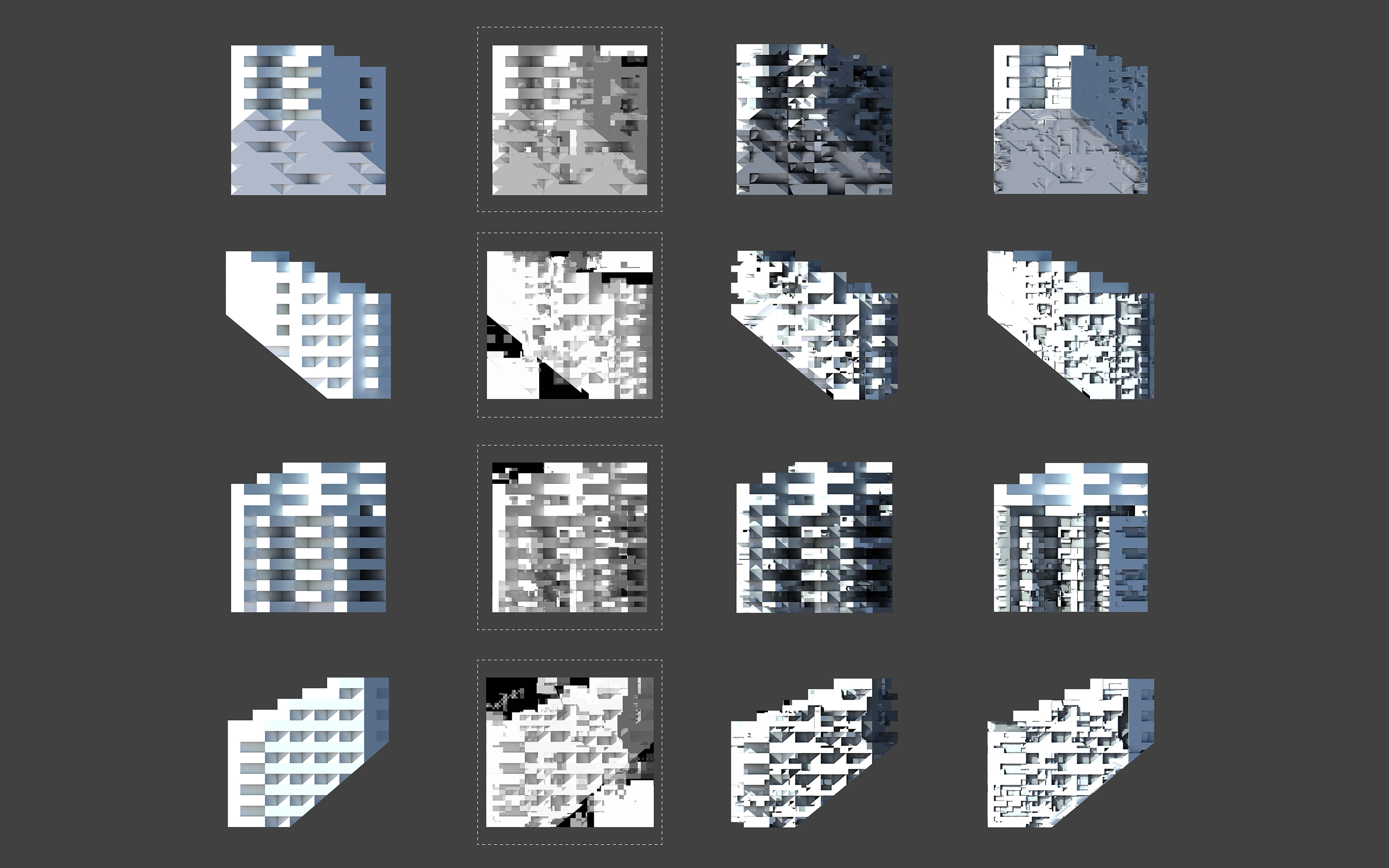 sixteen elevation views blocky project