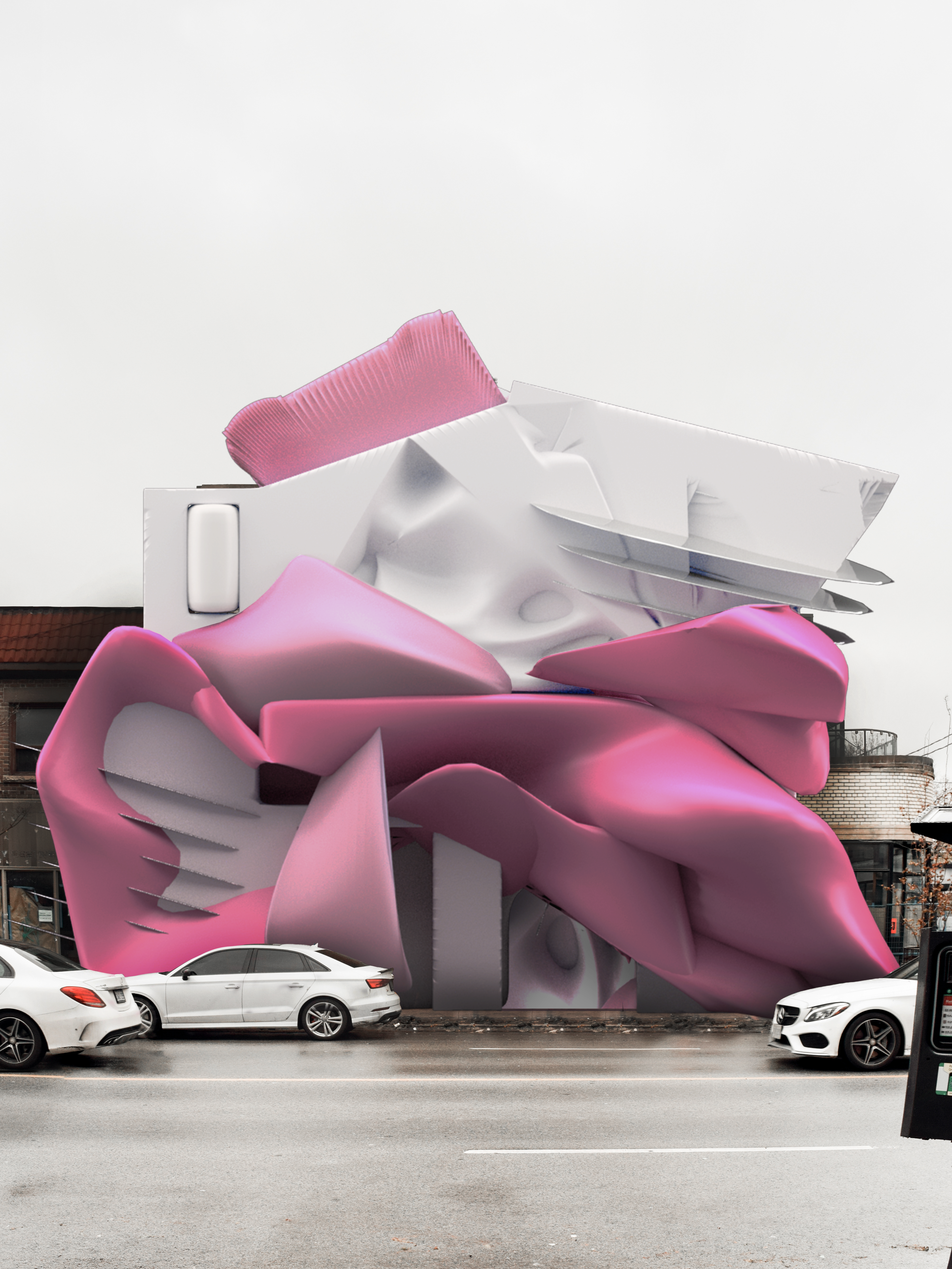 pink and white building facade