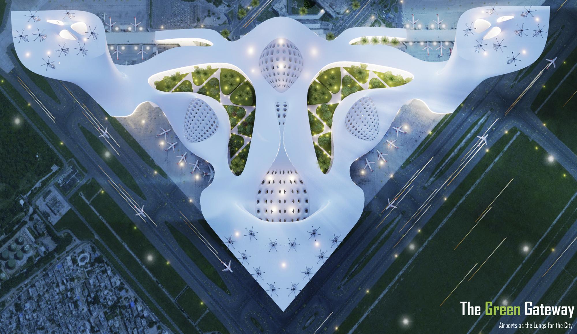 aerial architecture render