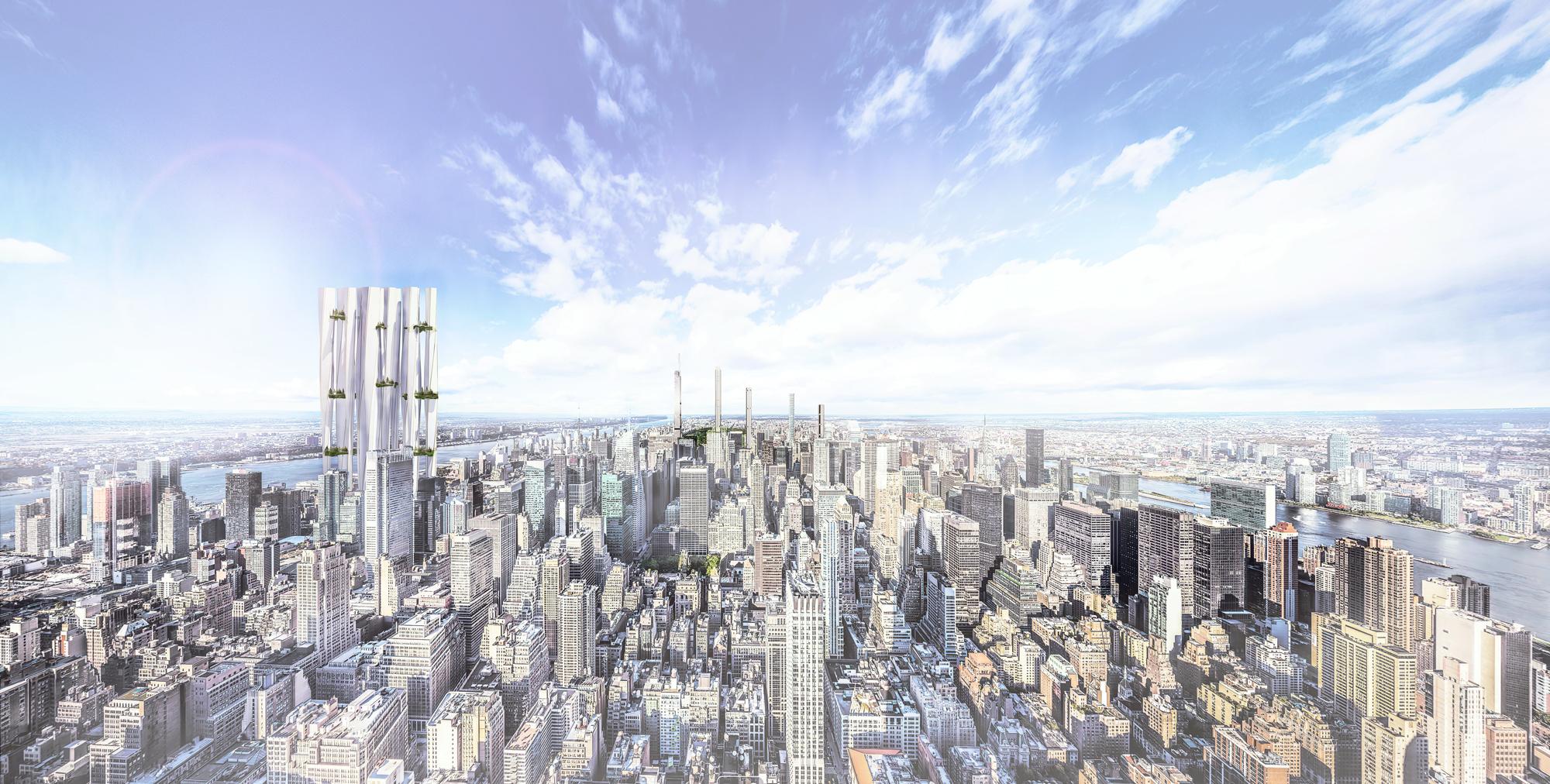 cityscape render sky buildings