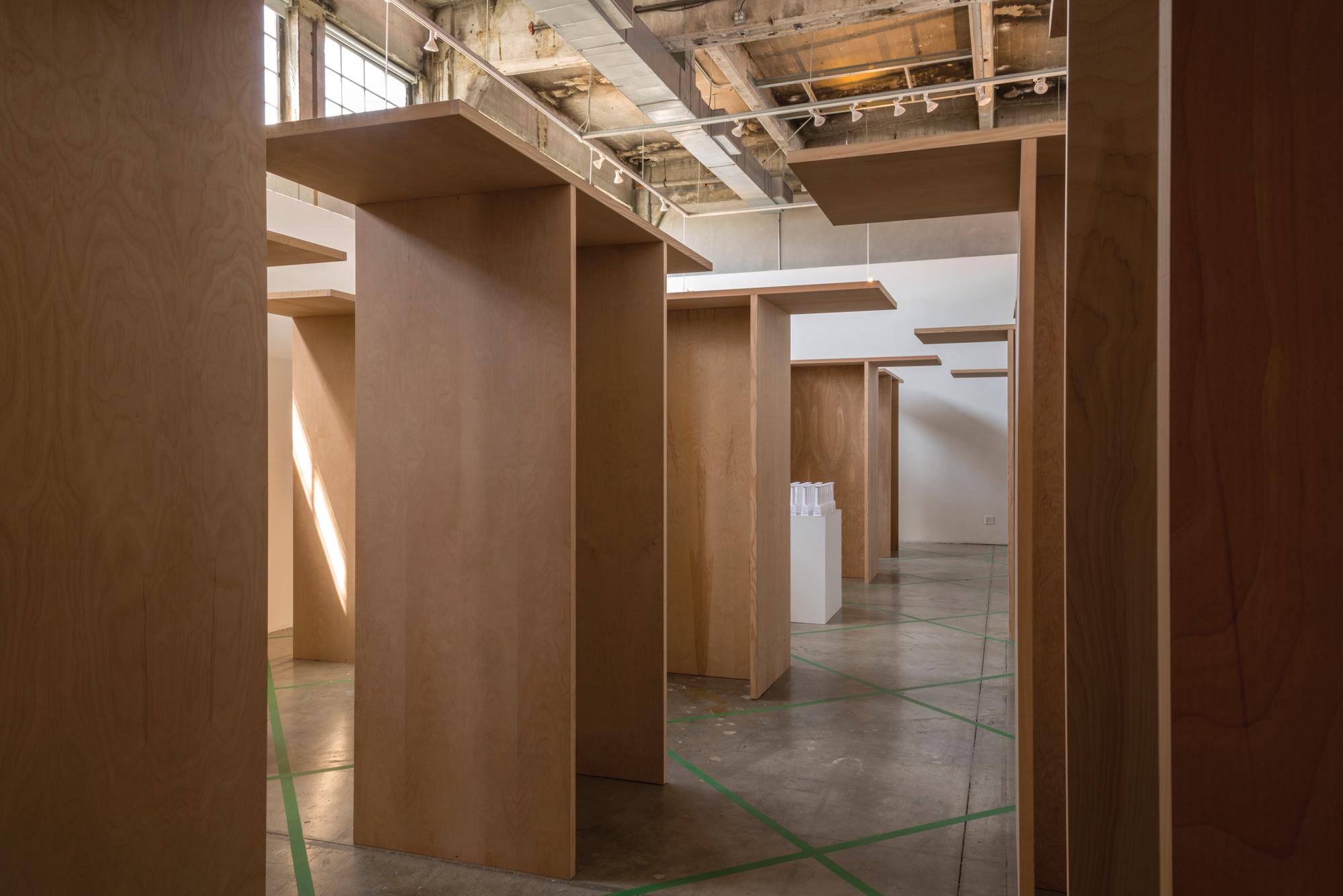 wooden structures in art exhibition