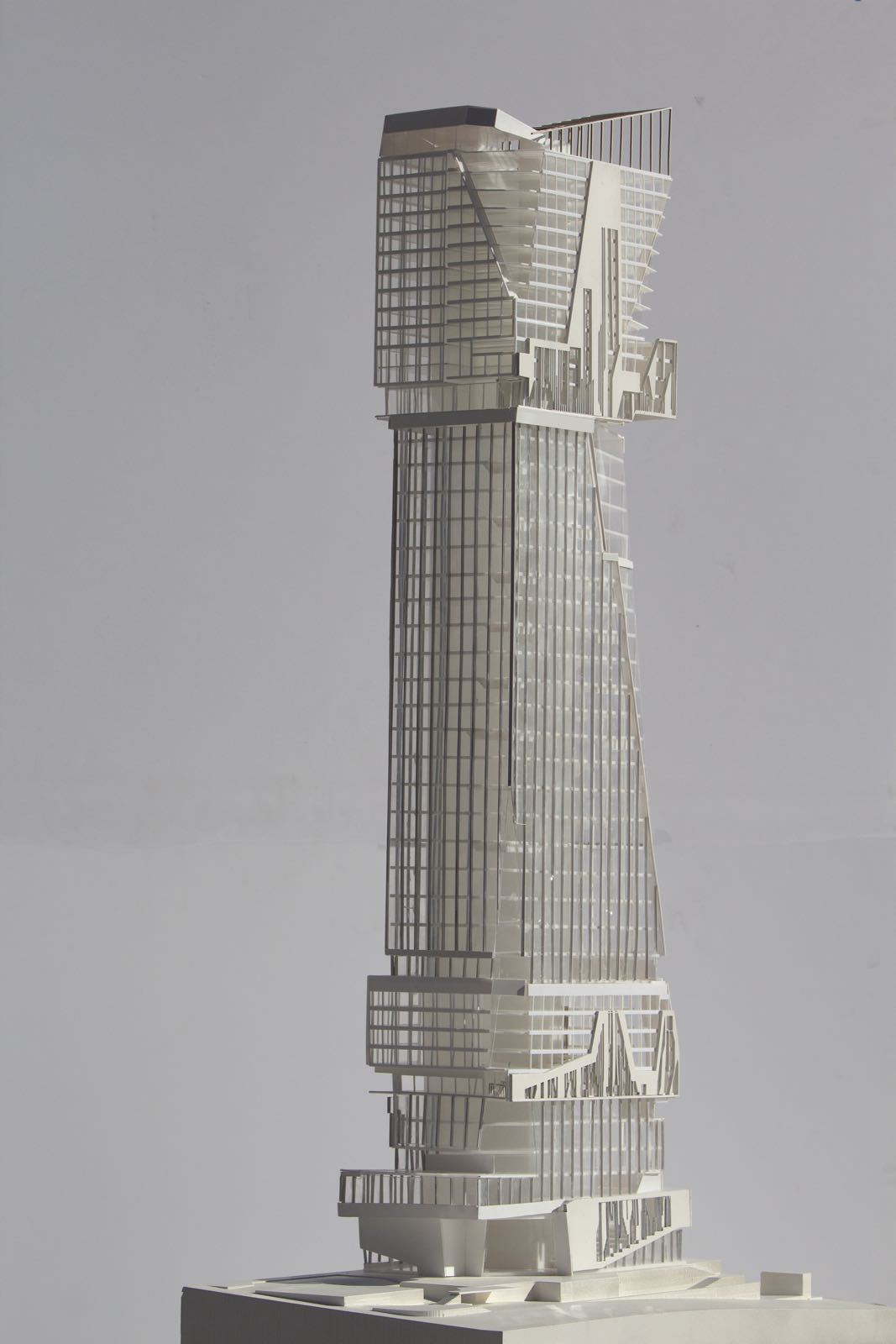 physical model tower Downtown LA project by student