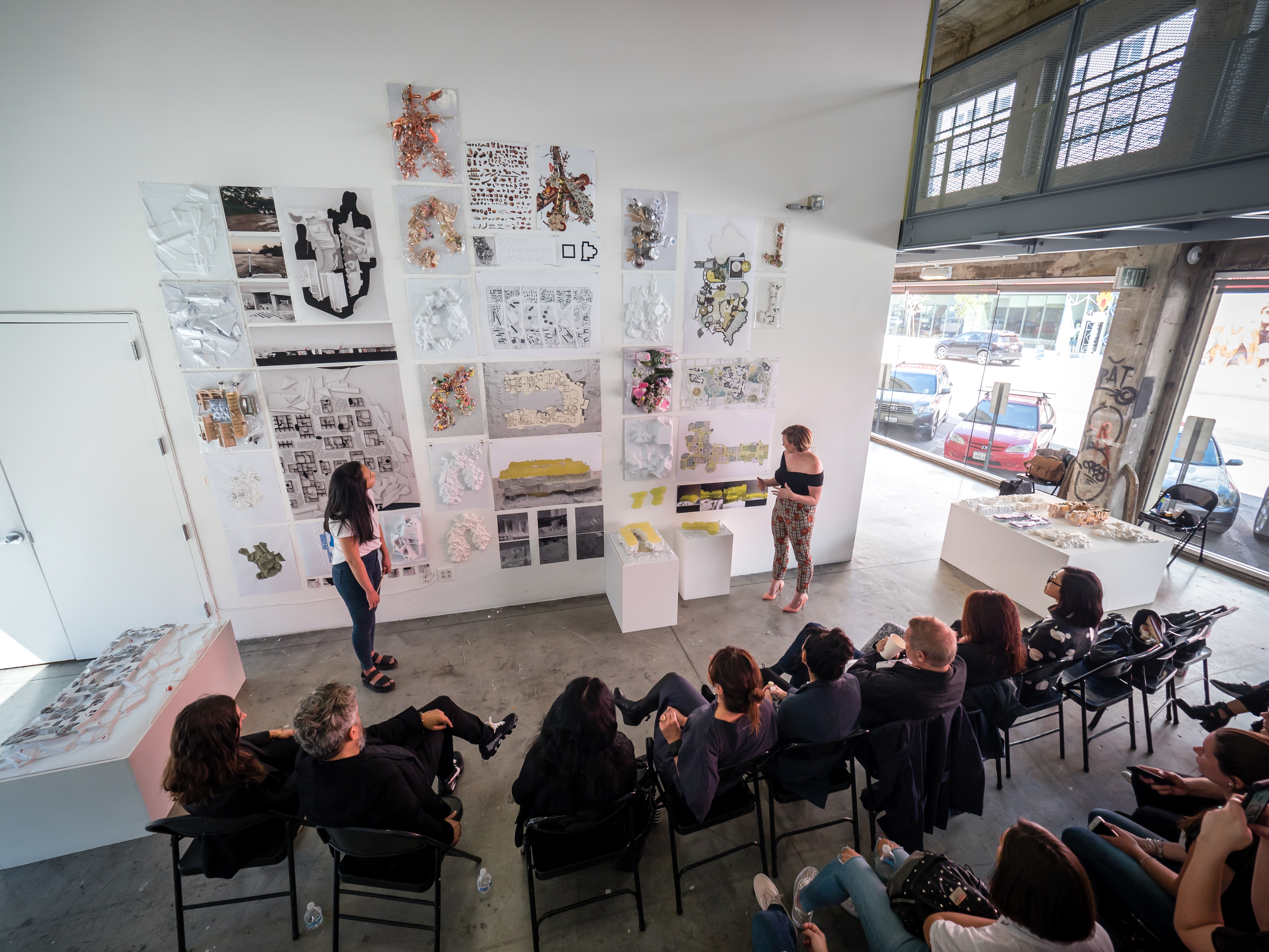 Florencia Pita vertical studio final review students present to jury