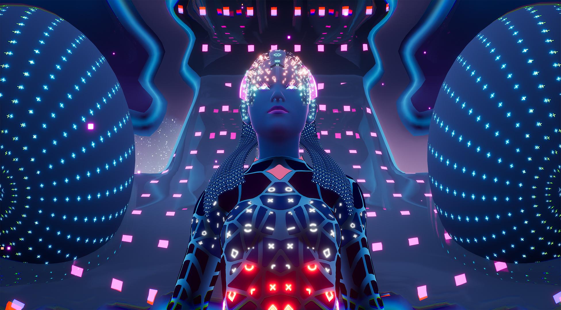 cgi avatar human neon lights
