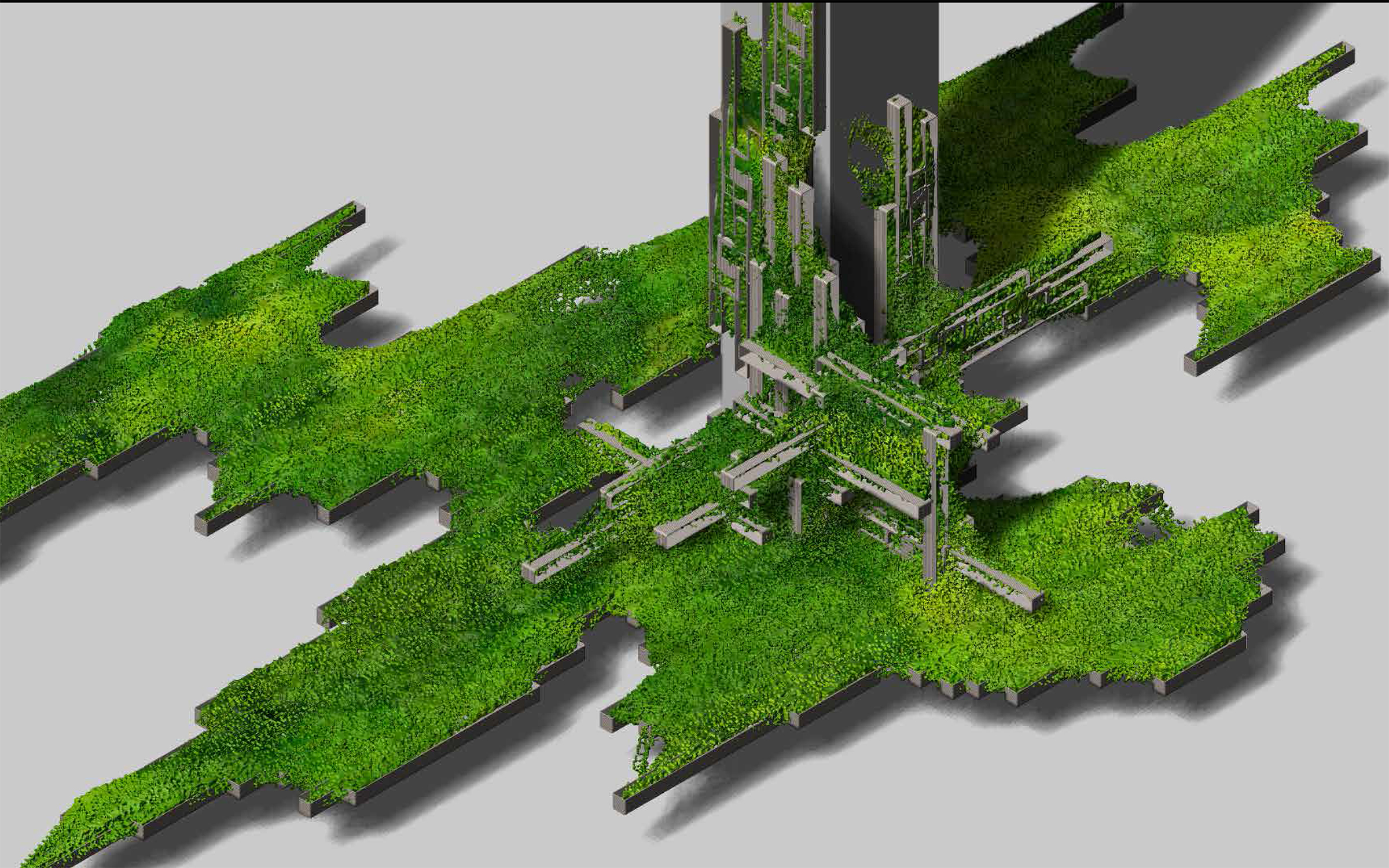 lush landscape emerging tower floating rendering