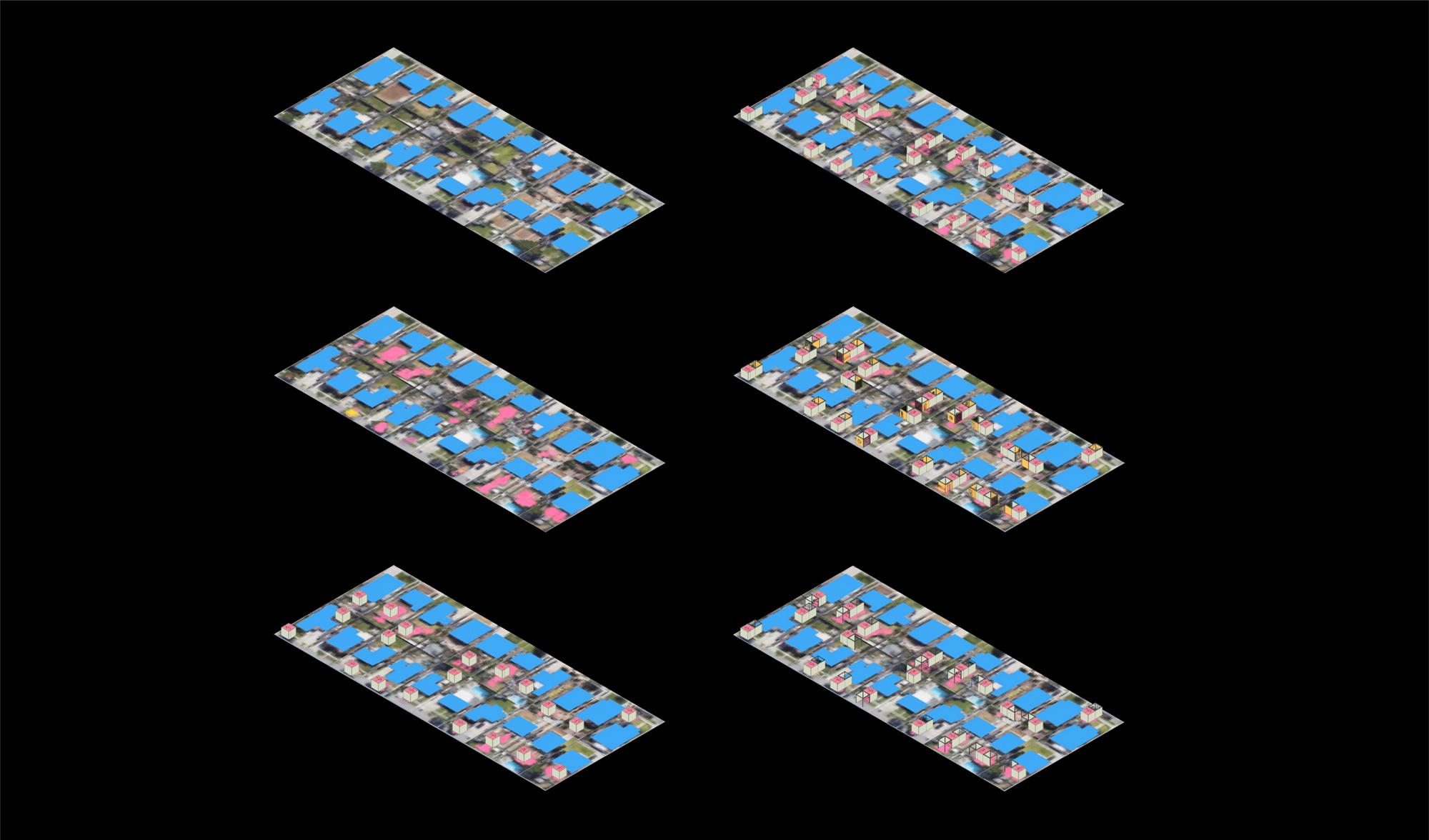 blue tiles computer render black background