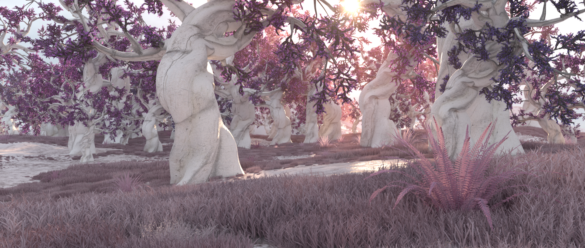 purple trees landscape
