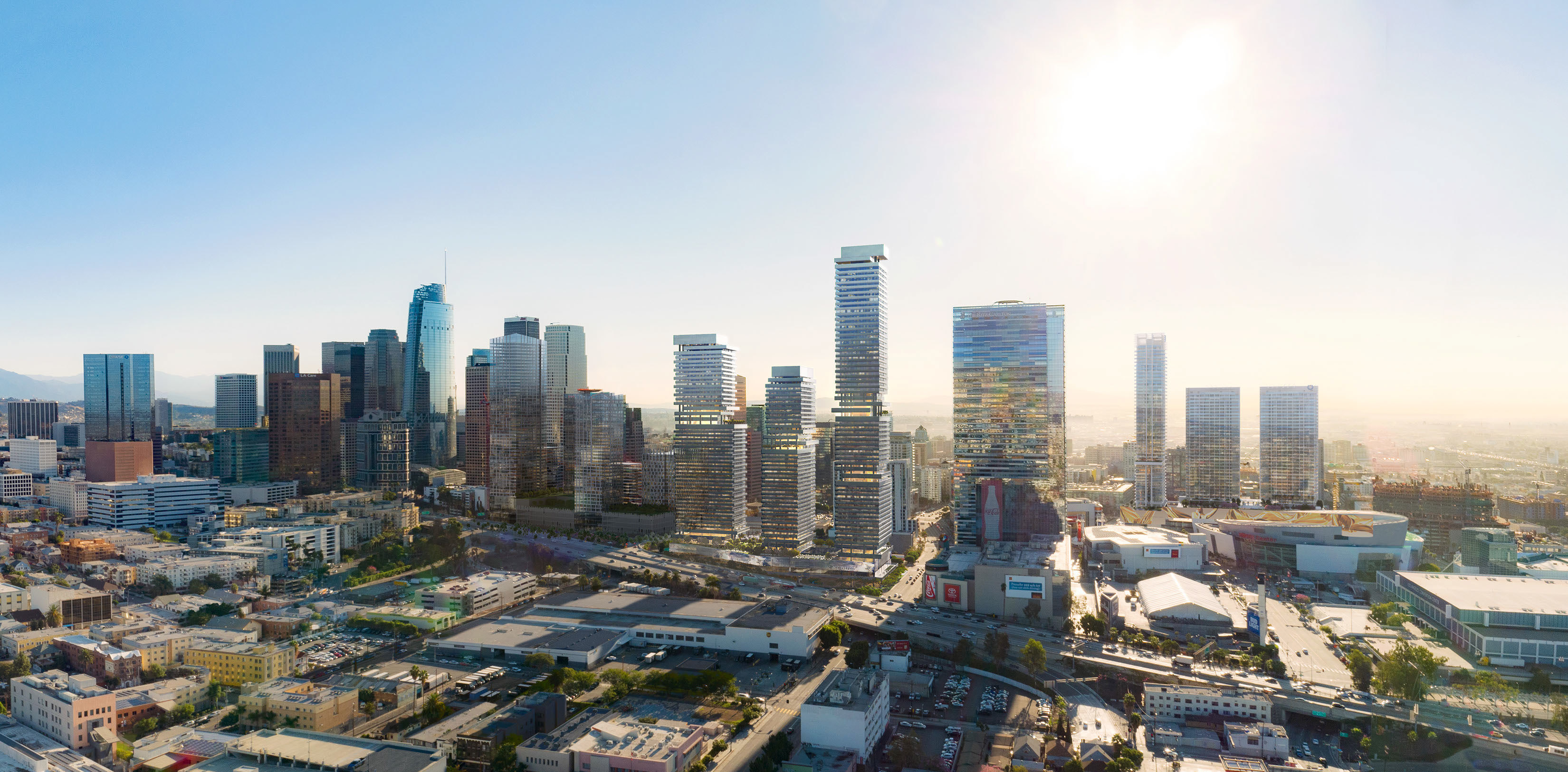 downtown LA skyline rendering glass reflection sunlight