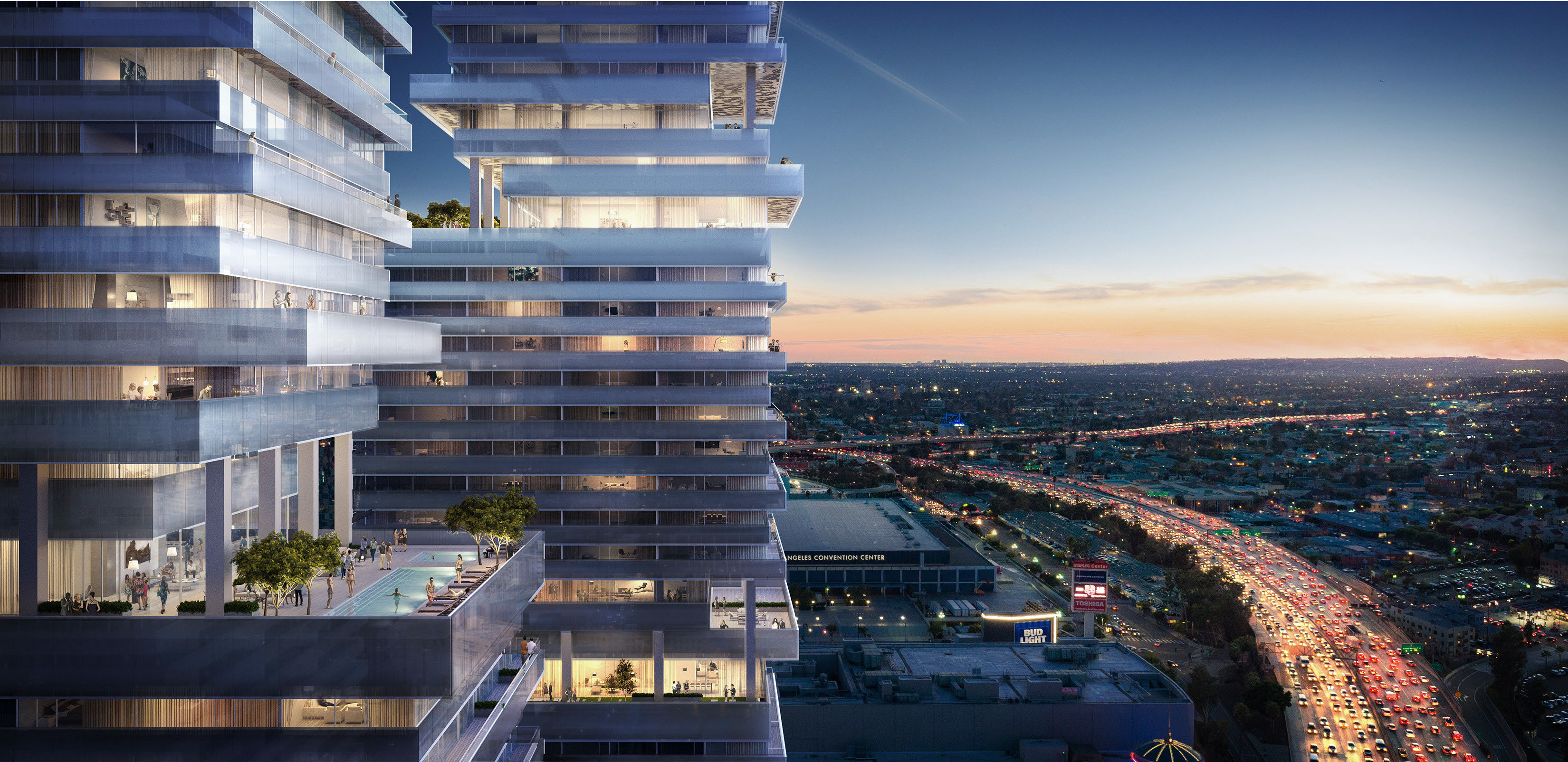 PATTERNS architecture high rise rendering night
