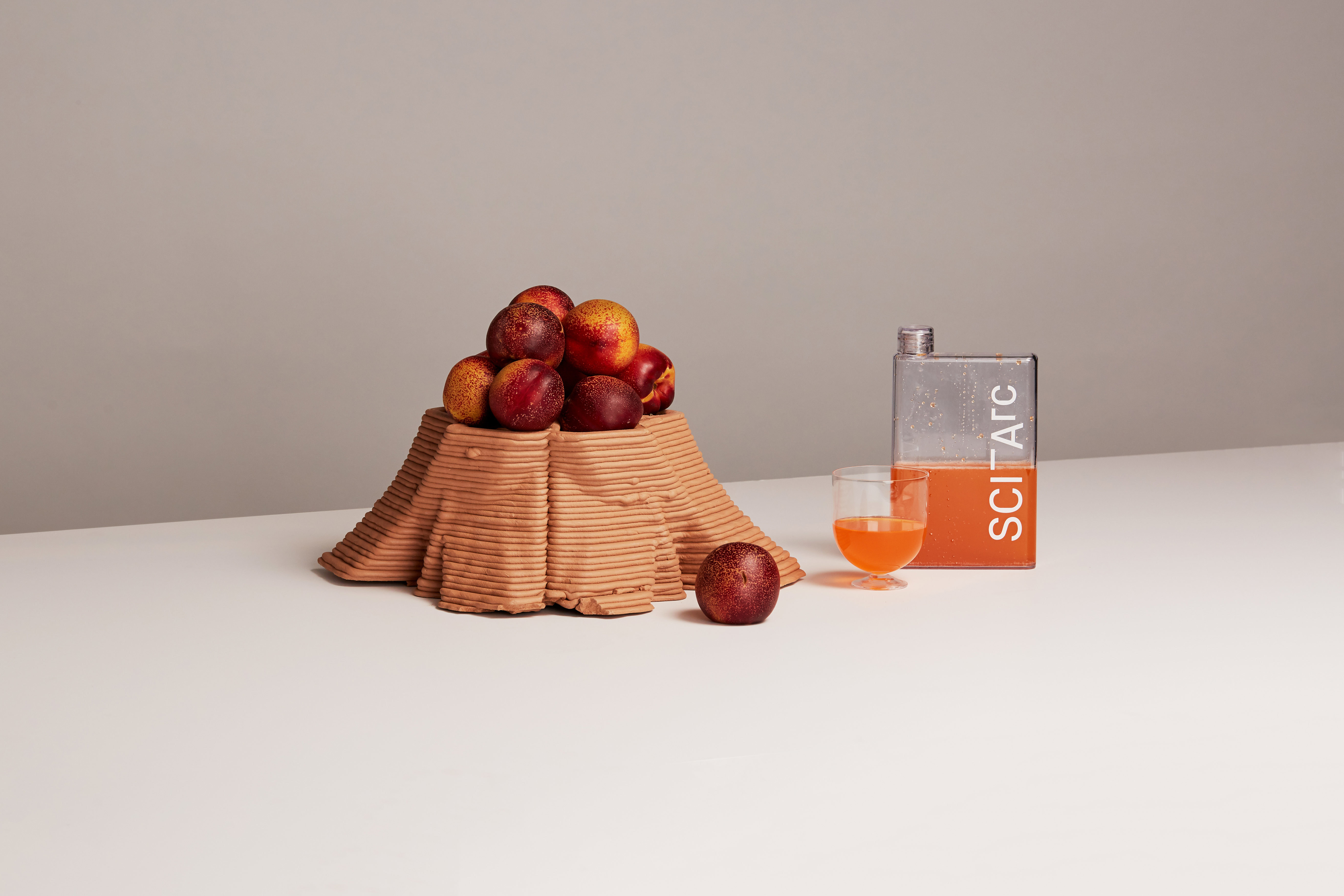 sciarc water flask still life with fruit juice