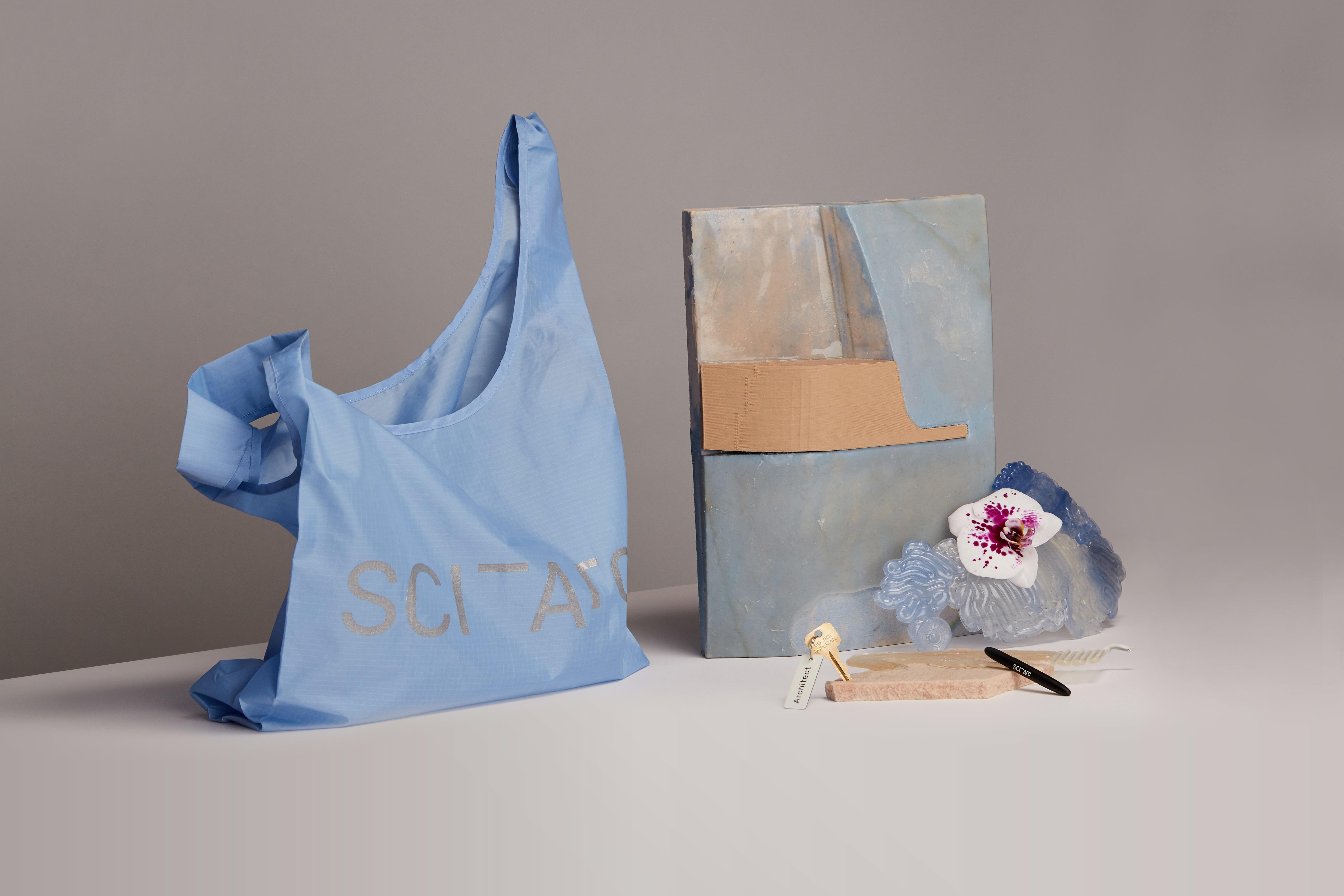 sciarc logo blue ripstop bag in still life