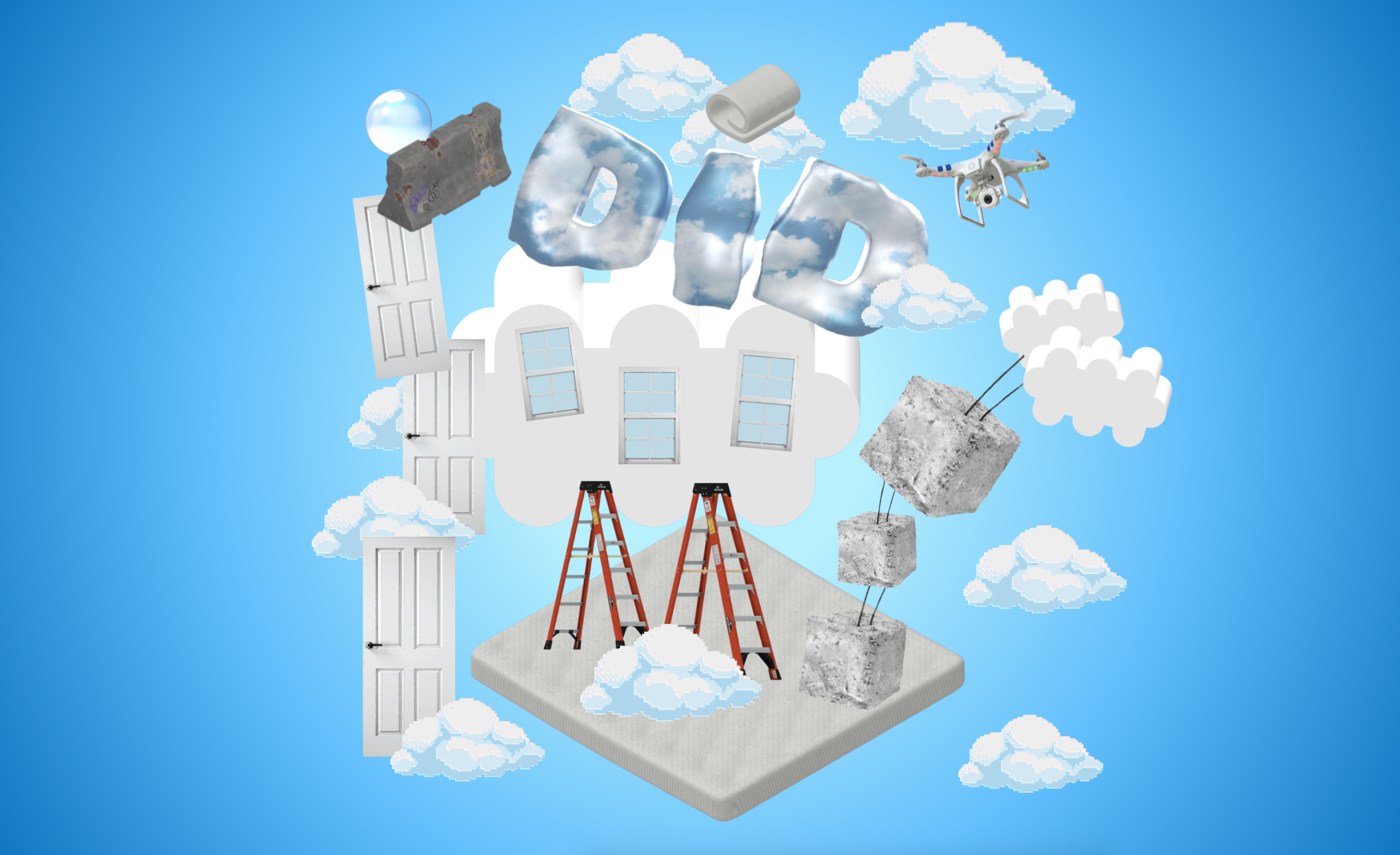 graphic with clouds and building tools