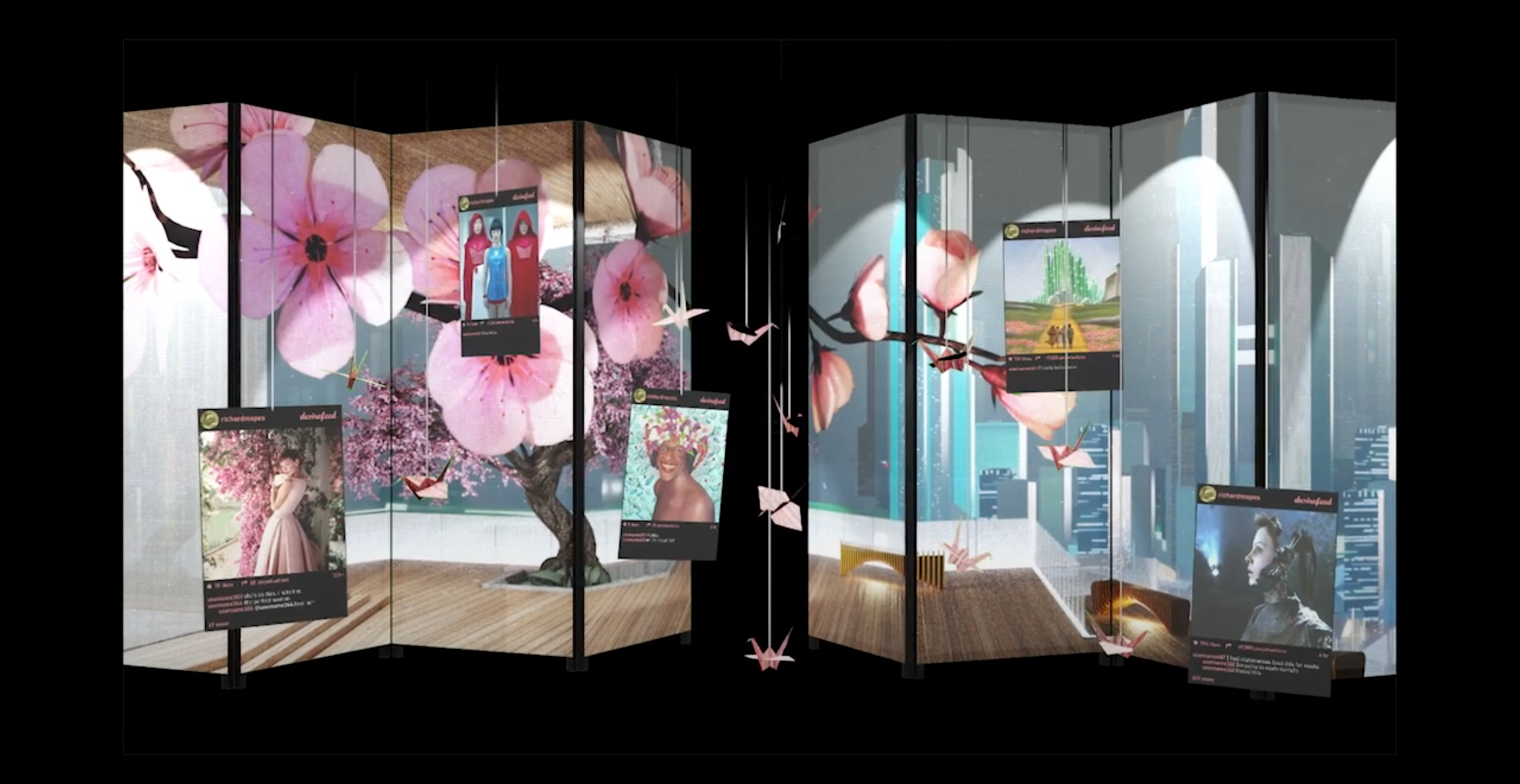 room divider cherry blossoms