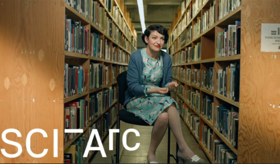 woman in library sciarc logo