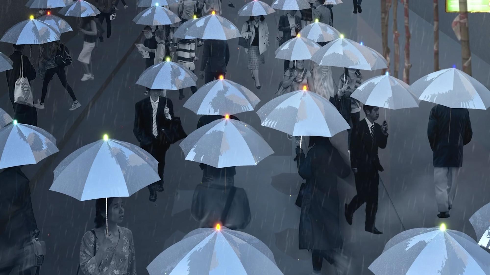 umbrellas people illustration