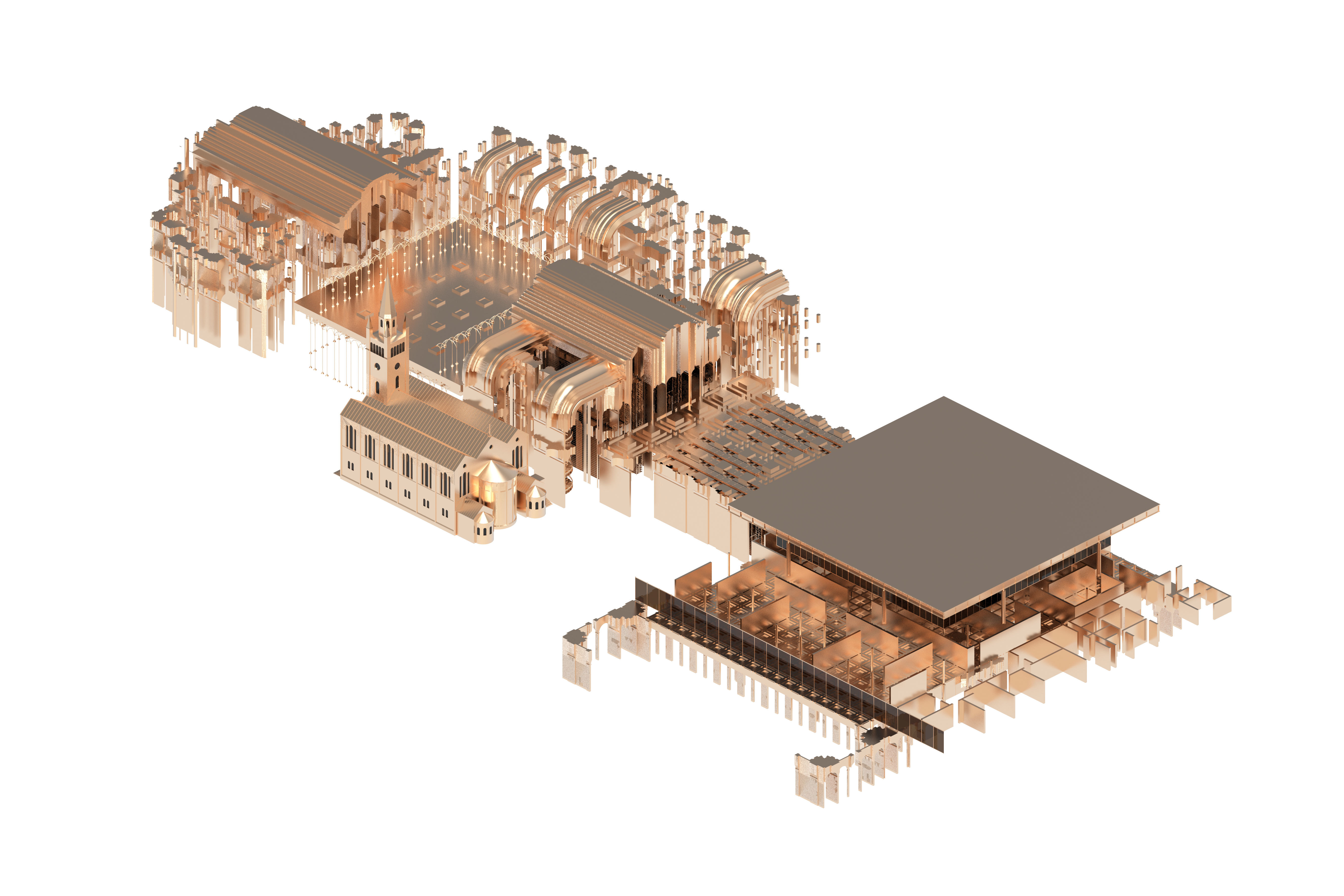 isometric metallic site plan by thesis student