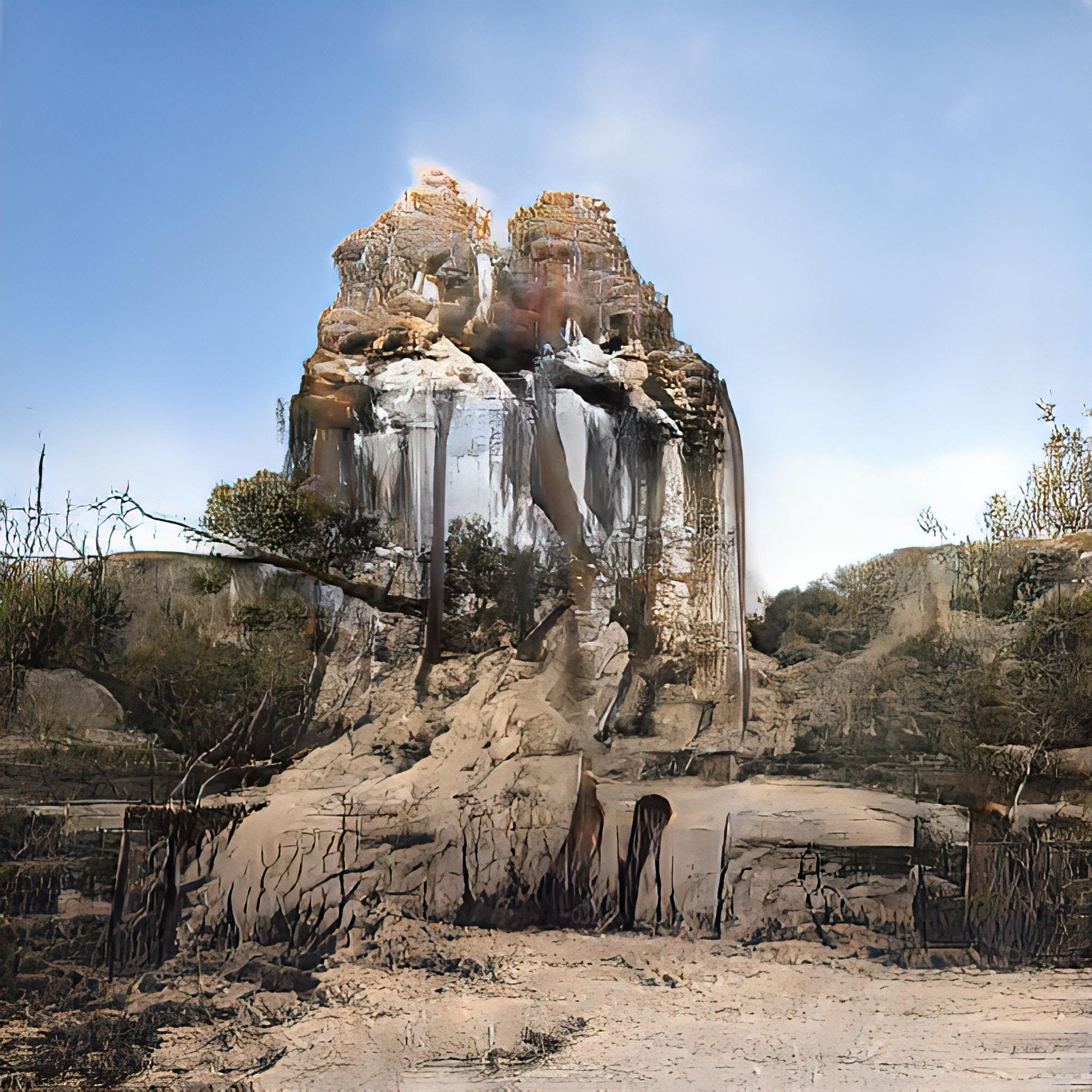 reflective rock desert landscape
