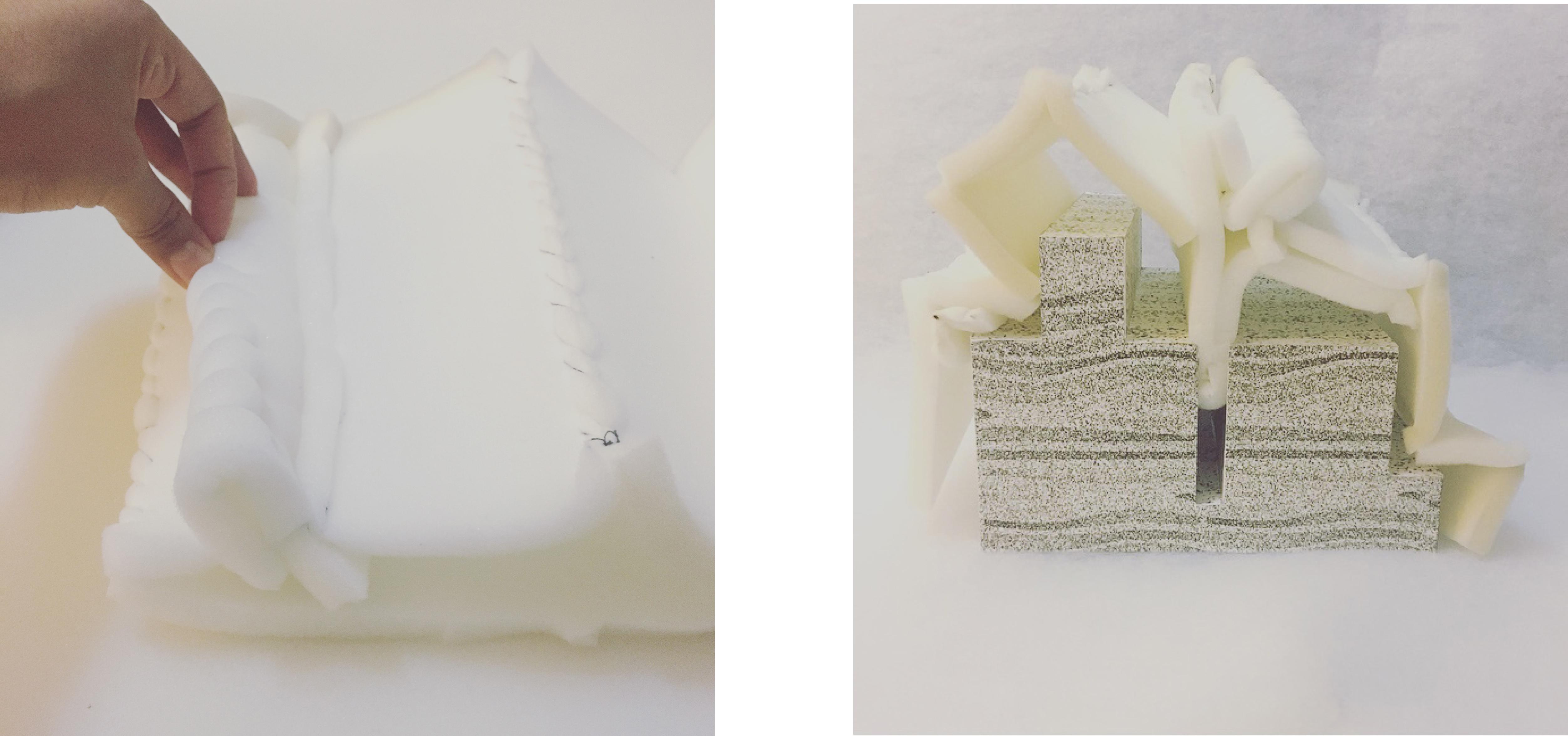 fluid geometry by foam driven by solid geometry
