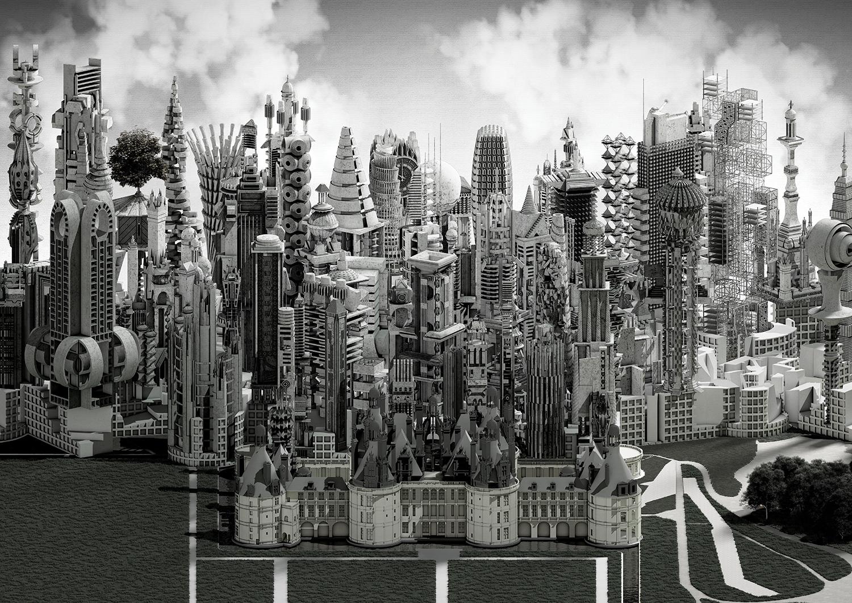 urban collage Elena Manferdini vertical rendering by student