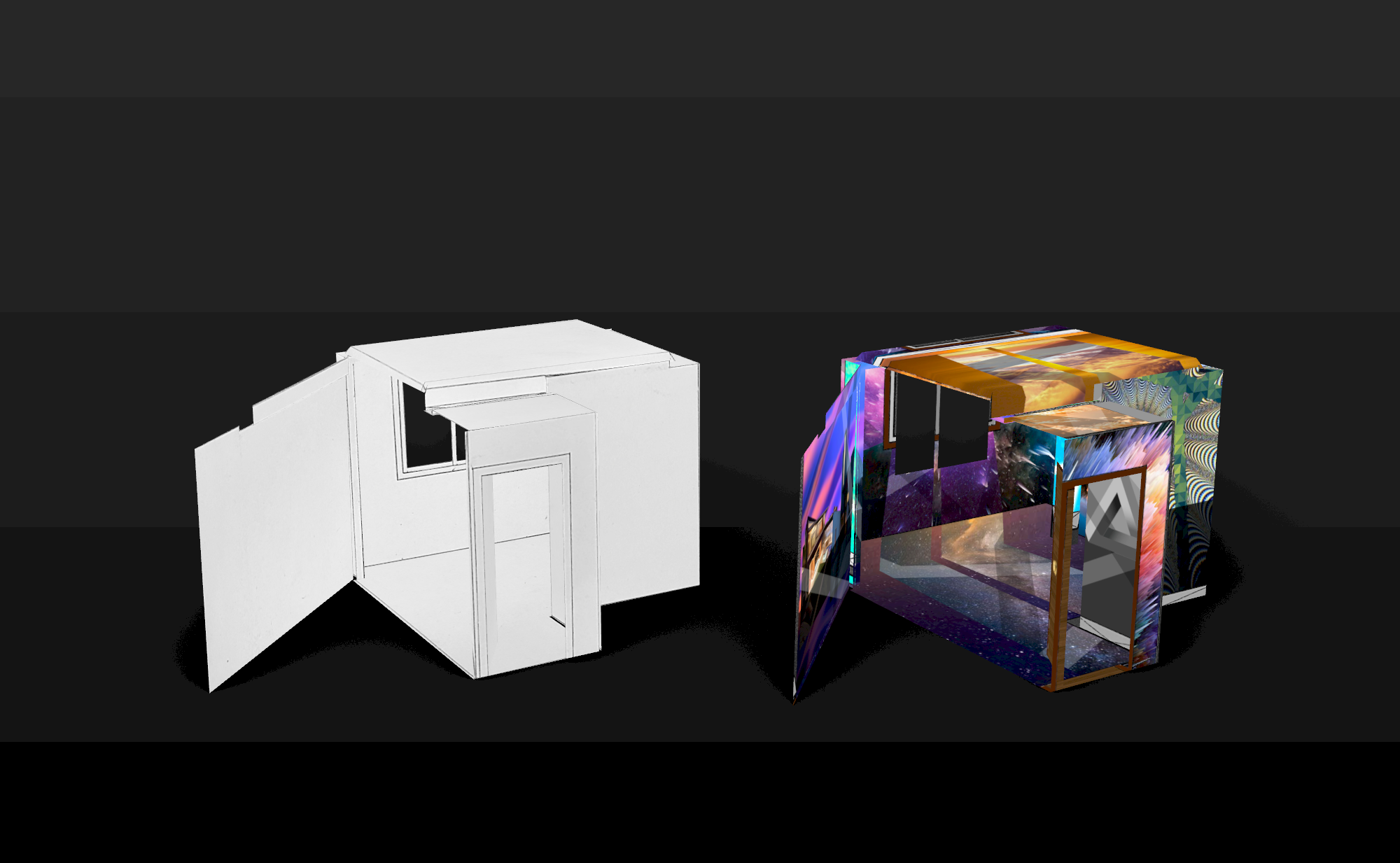 box render white colorful room