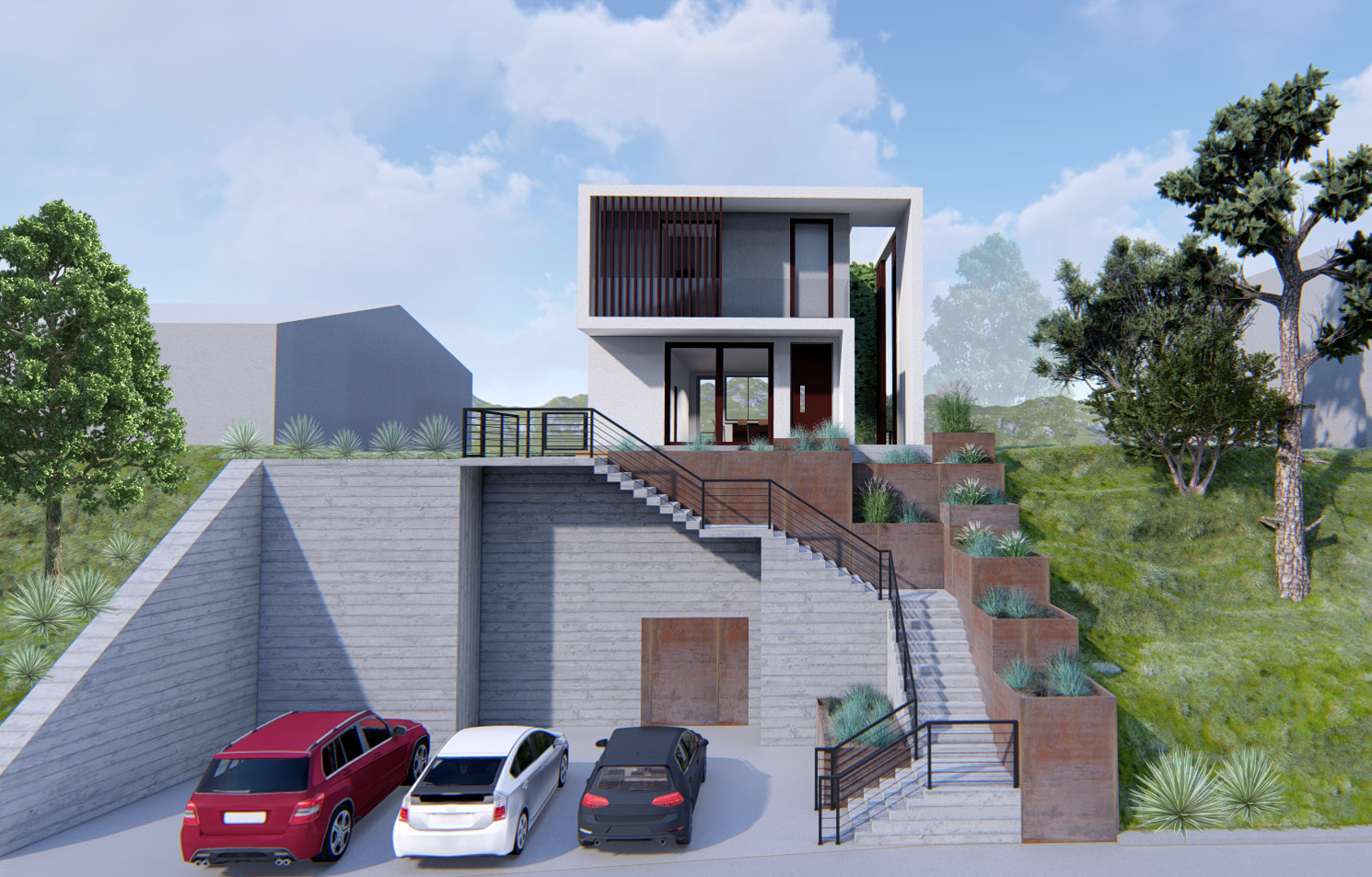 house render hillside cars grass concrete
