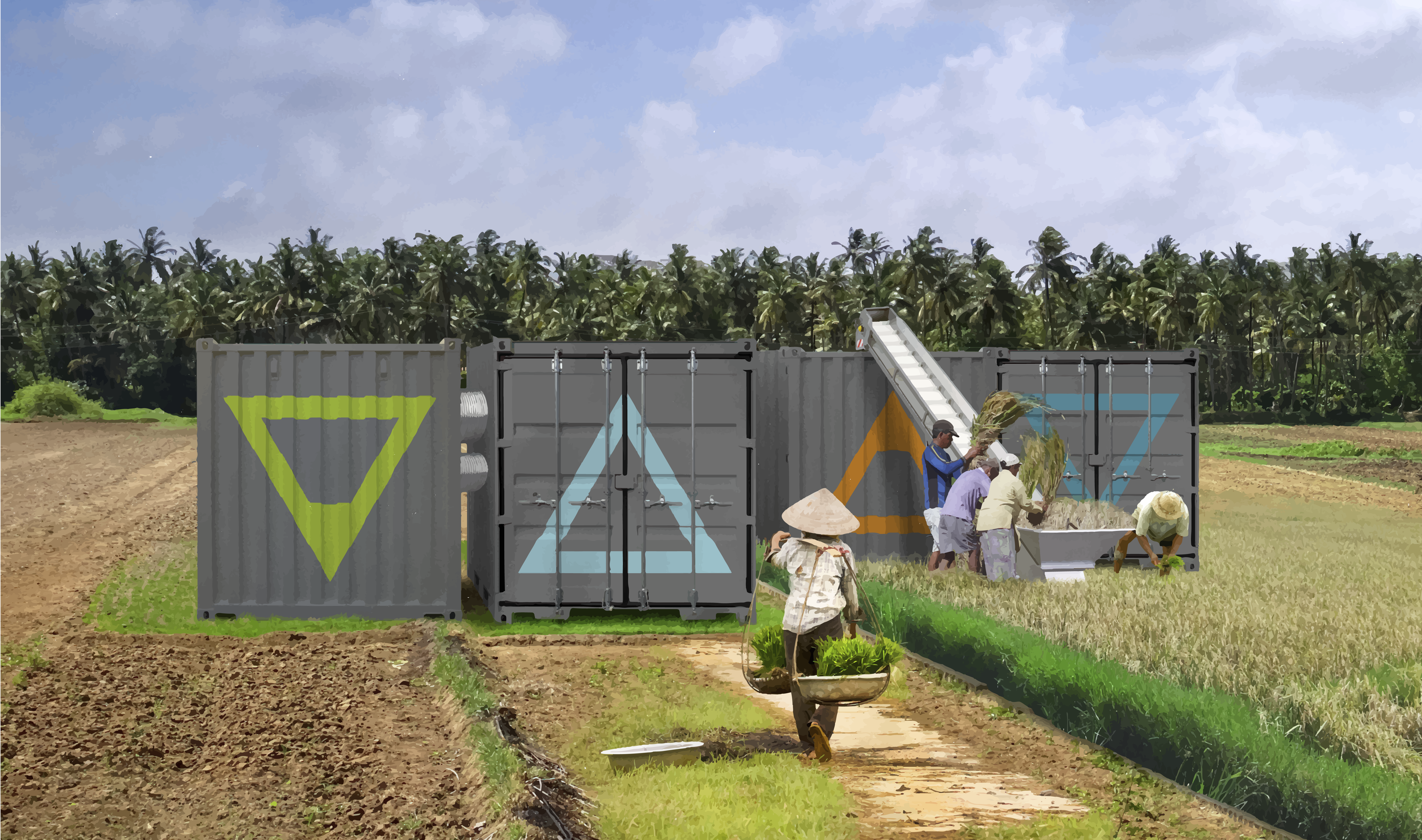 shipping containers rice paddy rendering