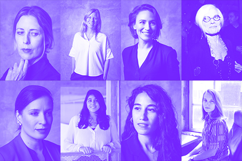 collage of faculty portraits in purple