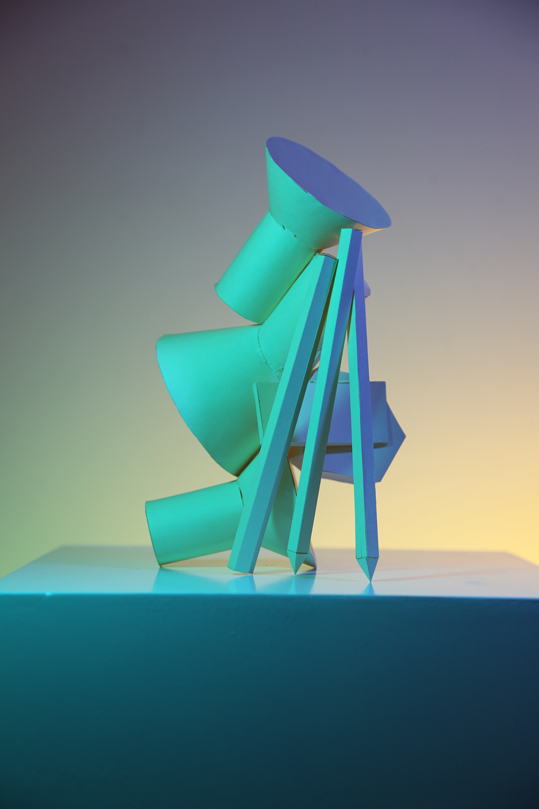 blue green paper model in lighting set