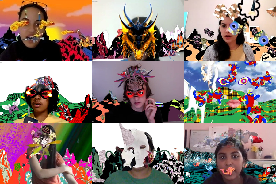 student grid with AR masks