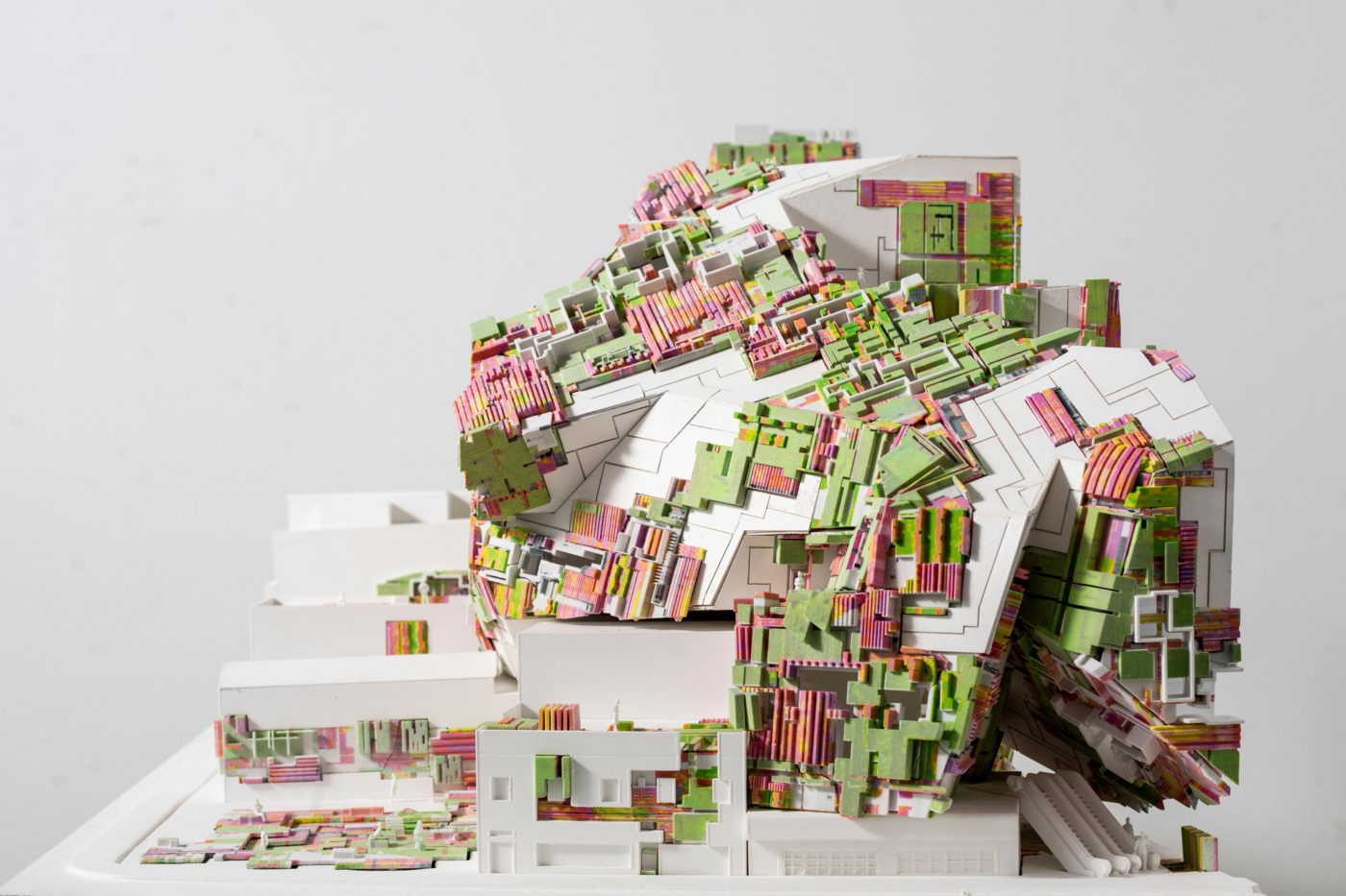pink green and white model by architecture student