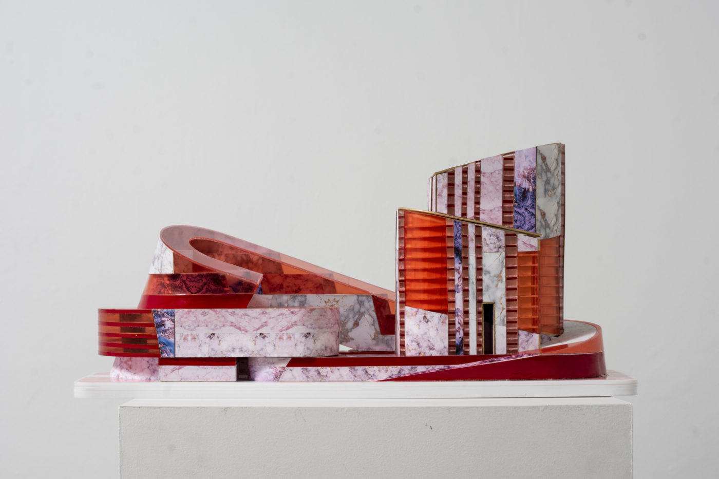 orange and building model by student