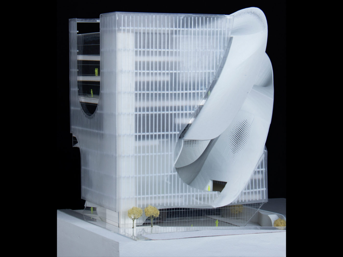 transparent white and reflective model by architecture student