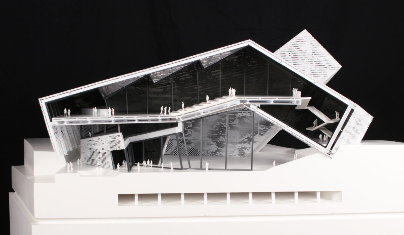 black white building model by student