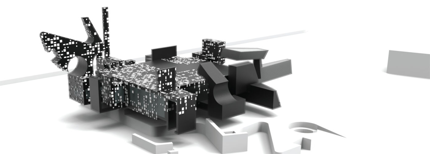 white black and pixelated model by architecture student