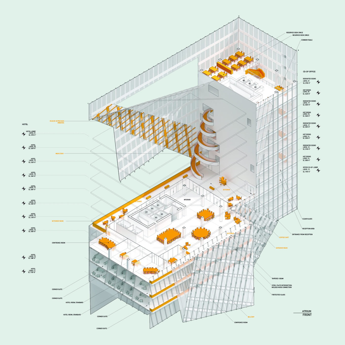 tall building isometric chunk model in orange and white