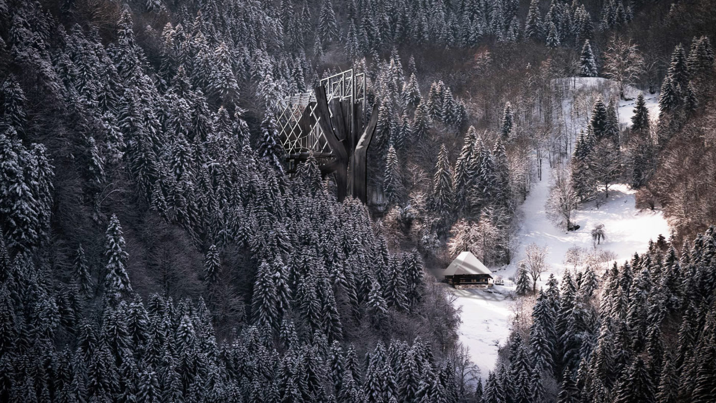concept rendering of prototype amongst snowy forest