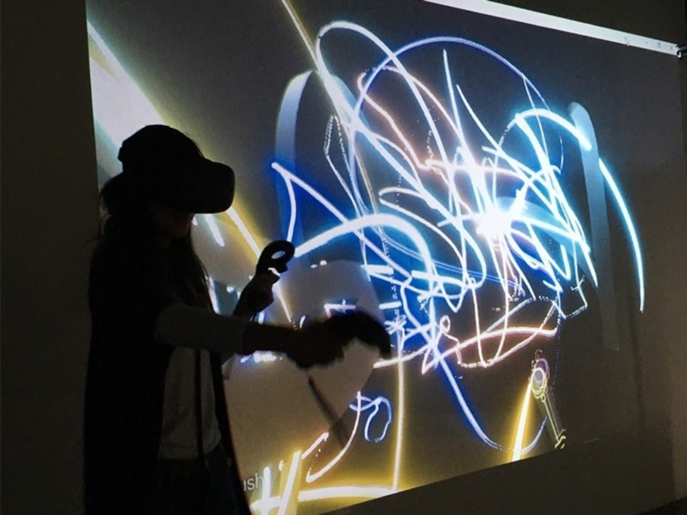 long exposure of student experimenting in VR