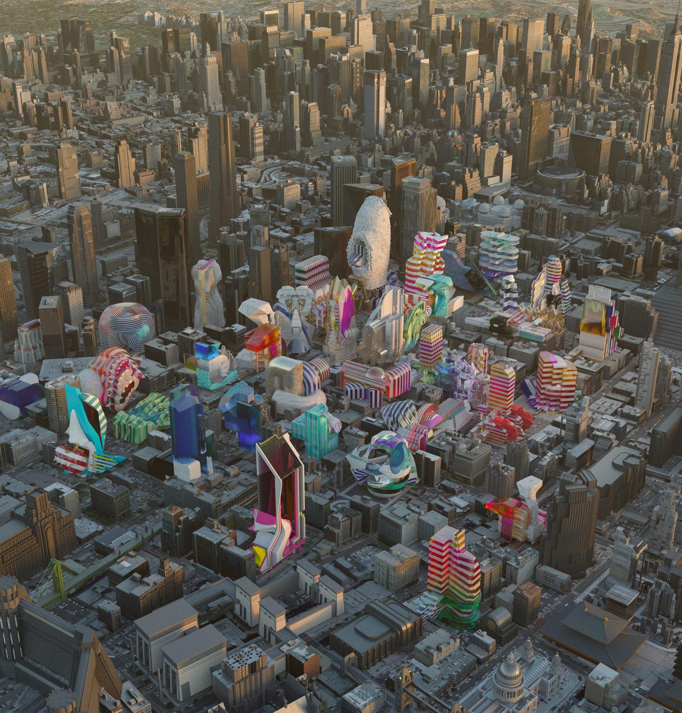 multicolor buildings cityscape