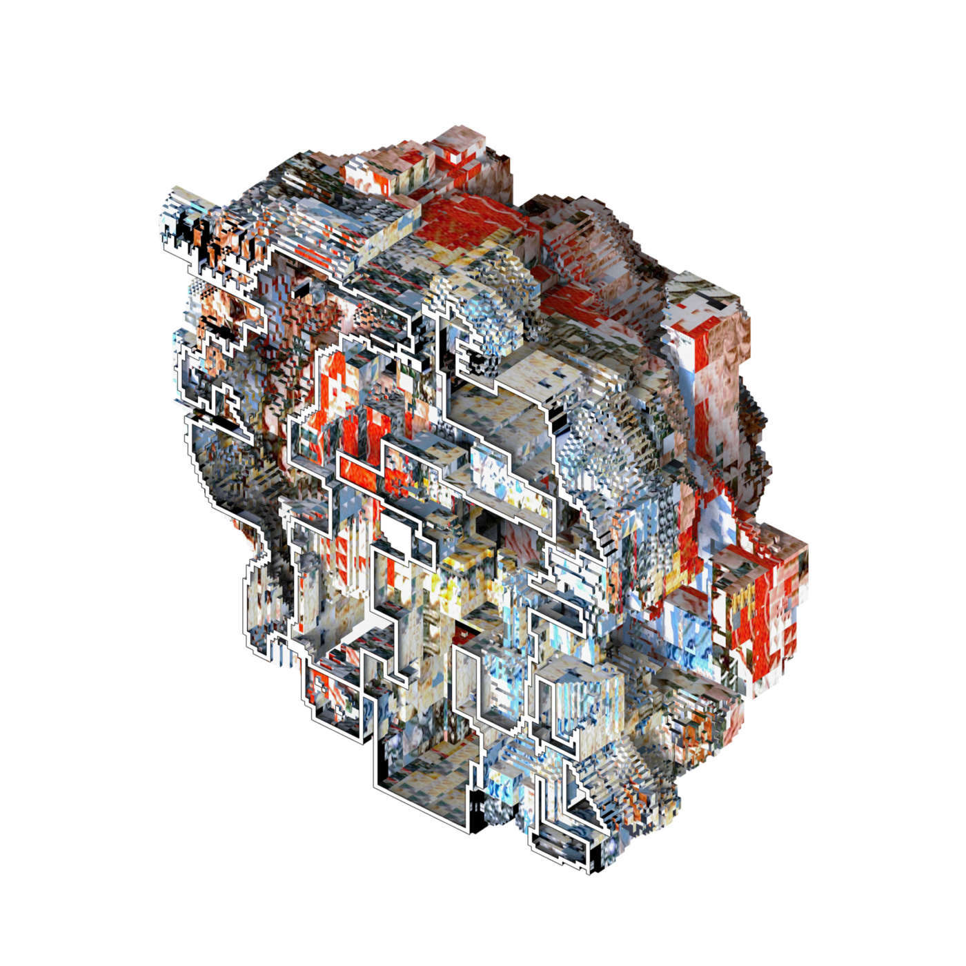 glitch effect red blue sectional isometric model