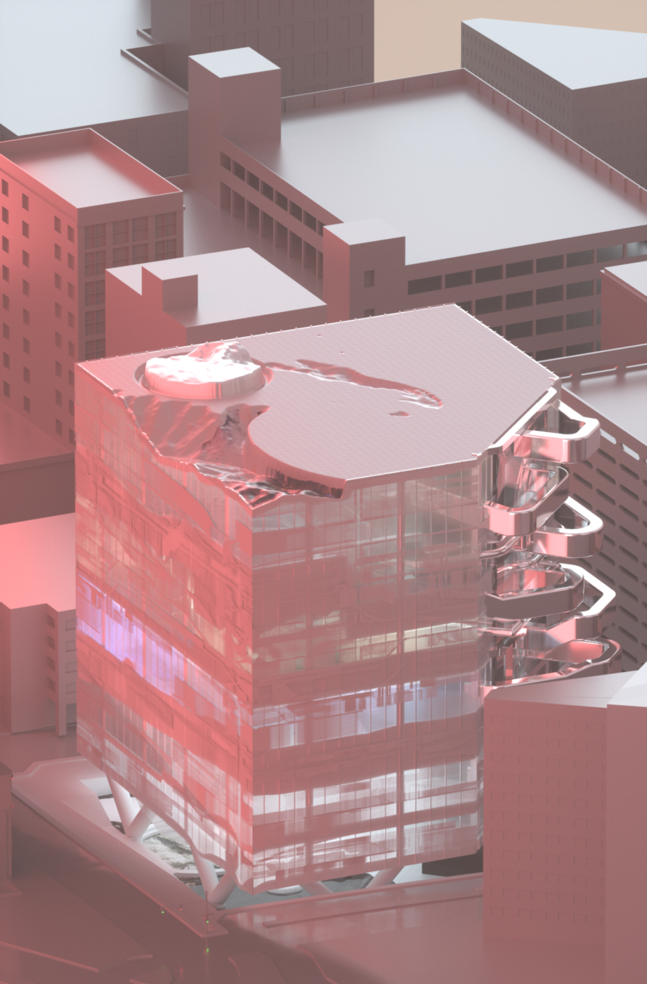 pink and grey building render