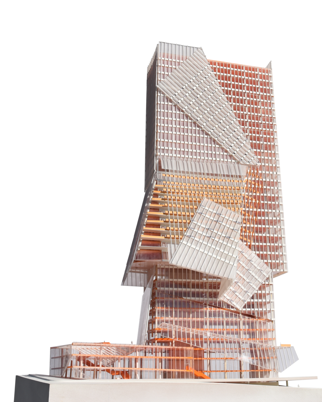orange white transperant tall building model by architecture student