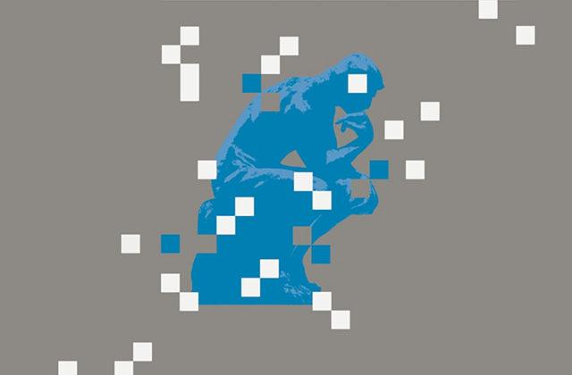 pixelated thinking man blue white grey