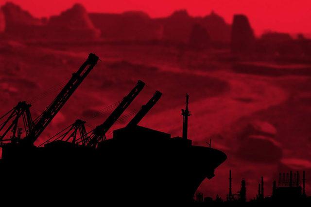 red landscape black machine silhouette