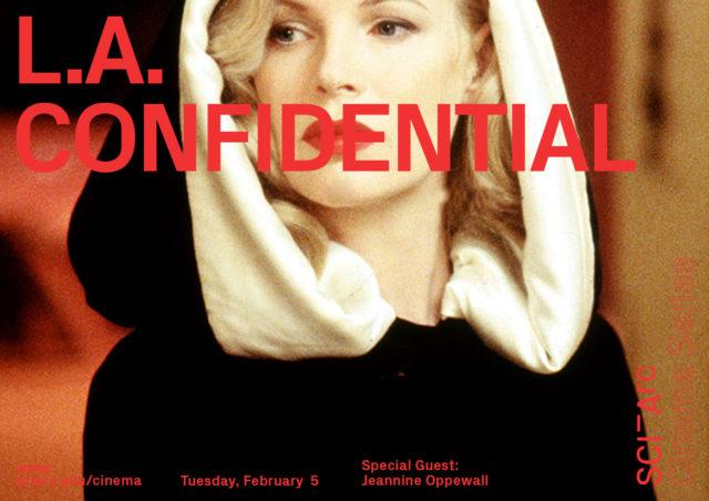 red text LA confidential woman black hood