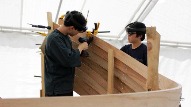 students goggles drill wood sculpture