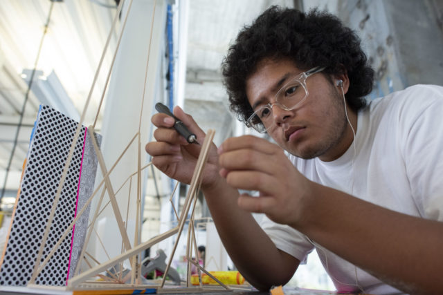 closeup of student working on model