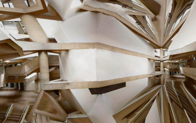 unfolded image wooden beams white wall