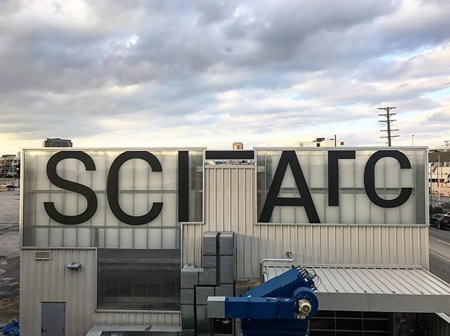 sciarc signage black text on frosted corrugation